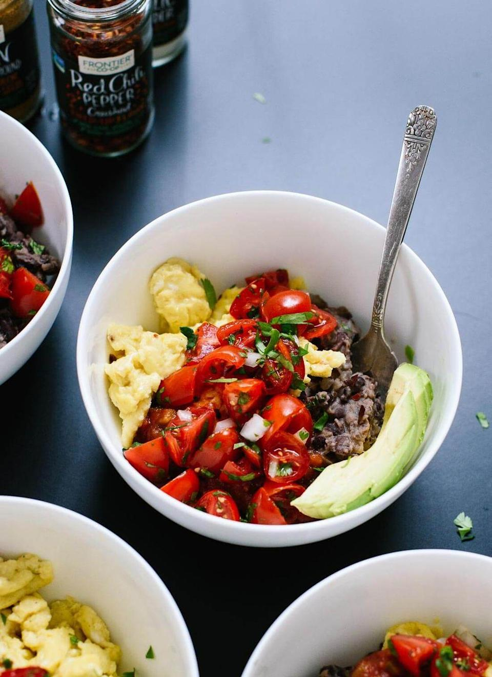 """<p>This is certainly a cowboy-approved breakfast bowl—and it's healthy, too! The hearty black beans and eggs add a ton of protein, while the pico de gallo brings lots of fresh flavor. </p><p><strong>Get the recipe at <a href=""""https://cookieandkate.com/tex-mex-breakfast-bowl-recipe/"""" rel=""""nofollow noopener"""" target=""""_blank"""" data-ylk=""""slk:Cookie + Kate"""" class=""""link rapid-noclick-resp"""">Cookie + Kate</a>.</strong></p><p><strong><a class=""""link rapid-noclick-resp"""" href=""""https://go.redirectingat.com?id=74968X1596630&url=https%3A%2F%2Fwww.walmart.com%2Fsearch%2F%3Fquery%3Dpioneer%2Bwoman%2Bsaucepan&sref=https%3A%2F%2Fwww.thepioneerwoman.com%2Ffood-cooking%2Fmeals-menus%2Fg34922086%2Fhealthy-breakfast-ideas%2F"""" rel=""""nofollow noopener"""" target=""""_blank"""" data-ylk=""""slk:SHOP SAUCEPANS"""">SHOP SAUCEPANS</a><br></strong></p>"""