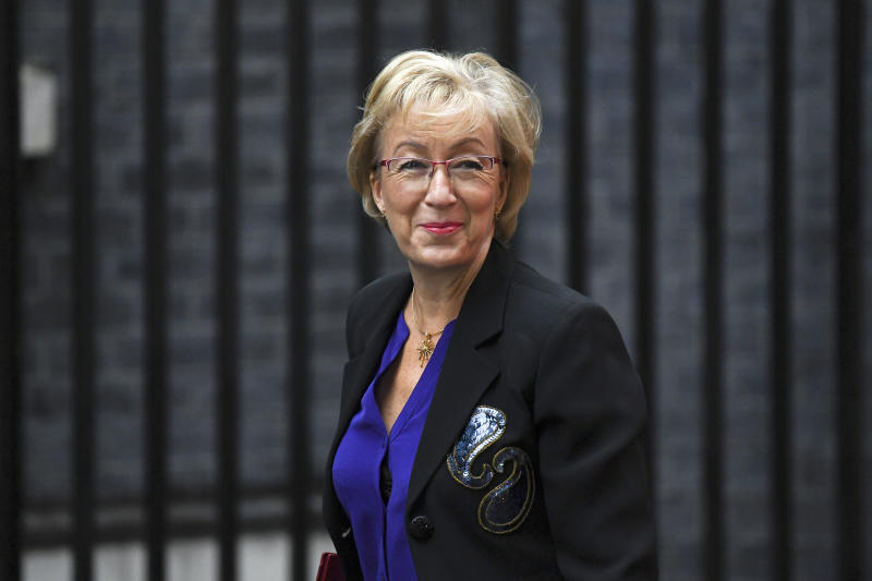 "Andrea Leadsom, Secreatary of State for Business, Energy and Industrial Strategy, arrives at Downing Street in London, Wednesday, Sept. 4, 2019. With Britain's prime minister weakened by a major defeat in Parliament, defiant lawmakers were moving Wednesday to bar Boris Johnson from pursuing a ""no-deal"" departure from the European Union. (AP Photo/Alberto Pezzali)"