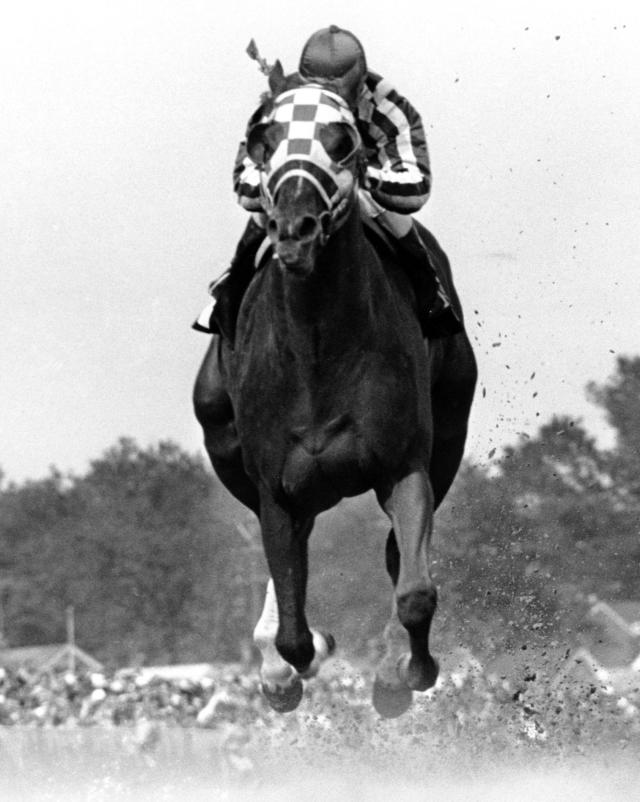 FILE - In this May 5, 1973, file photo, jockey Ron Turcotte rides Secretariat to victory in the Kentucky Derby horse race at Churchill Downs in Louisville, Ky. Secretariat is the early 7-2 favorite for this weekend's virtual Kentucky Derby, an animated race pitting all 13 Triple Crown winners on the day the Derby would have been held before the coronavirus pandemic postponed it.(AP Photo/File)