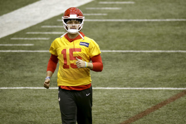 Kansas City Chiefs quarterback Patrick Mahomes participates in a drill at NFL football practice Thursday, Jan. 23, 2020 at in Kansas City, Mo. The Chiefs will face the San Francisco 49ers in Super Bowl 54. (AP Photo/Charlie Riedel)