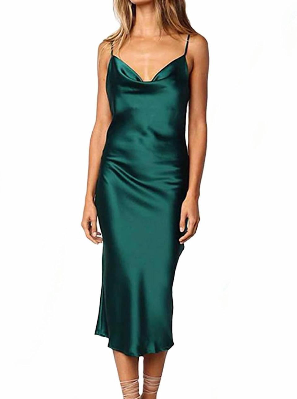 """Choose between a long list of hues for this classic silky number that can easily be dressed up or down. $18, Amazon. <a href=""""https://www.amazon.com/XXXITICAT-Sleeveless-Spaghetti-Cocktail-Evening/dp/B07MWV3PS1"""" rel=""""nofollow noopener"""" target=""""_blank"""" data-ylk=""""slk:Get it now!"""" class=""""link rapid-noclick-resp"""">Get it now!</a>"""