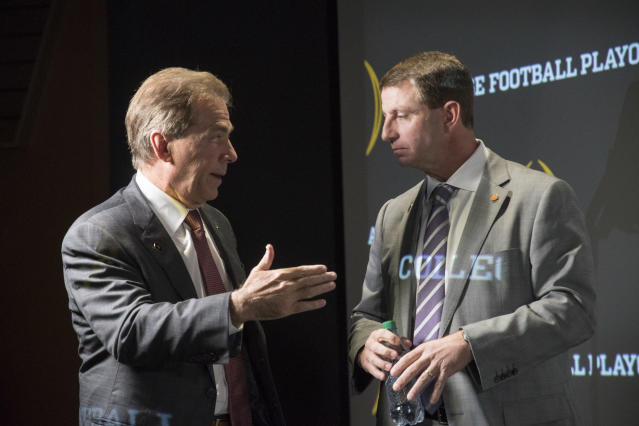 Will Clemson coach Dabo Swinney eventually take over Nick Saban's throne at Alabama? (AP)