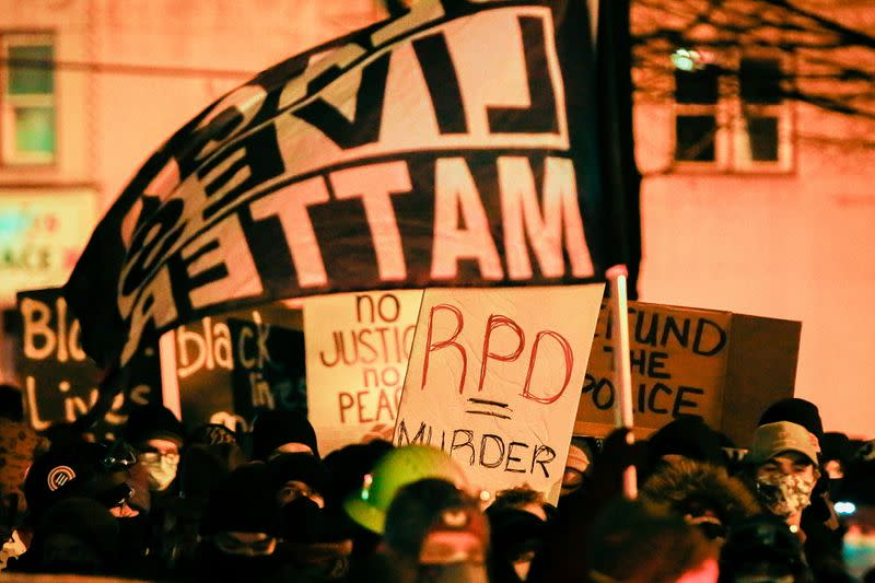People march in protest after the New York grand jury votes not to indict officers in Prude's death