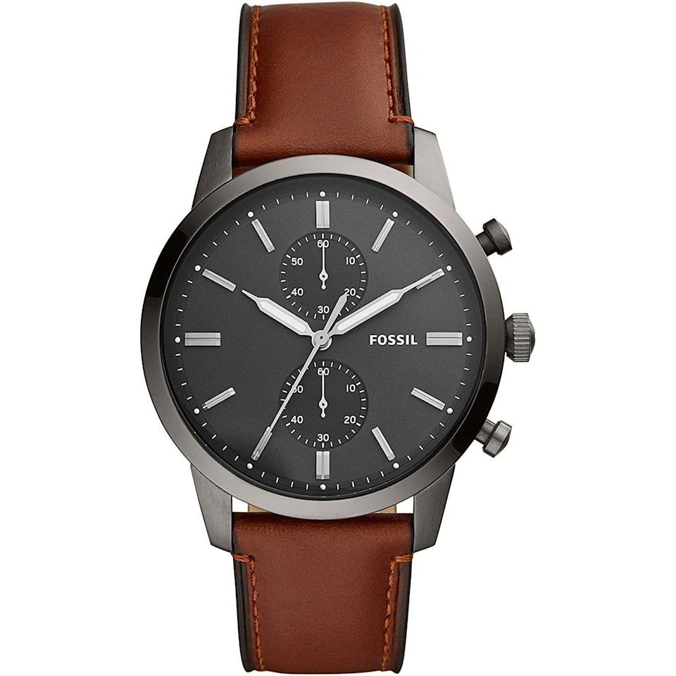 """<p><strong>Fossil</strong></p><p>amazon.com</p><p><a href=""""https://www.amazon.com/dp/B07MSLH7ZQ?tag=syn-yahoo-20&ascsubtag=%5Bartid%7C10054.g.35351418%5Bsrc%7Cyahoo-us"""" rel=""""nofollow noopener"""" target=""""_blank"""" data-ylk=""""slk:Shop Now"""" class=""""link rapid-noclick-resp"""">Shop Now</a></p><p><del>$159.00</del><strong> $79.00 (50% off)</strong></p><p>Gotta love an easy-to-wear chrono for half off.</p>"""