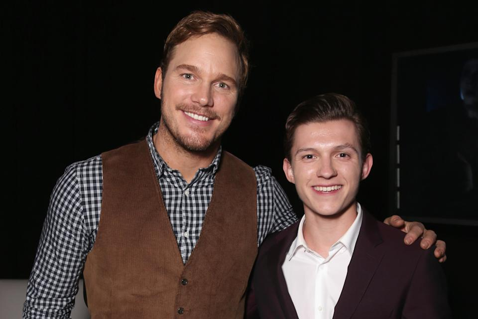 LAS VEGAS, NV - APRIL 12:  Actors Chris Pratt (L) and Tom Holland attend CinemaCon 2016 An Evening with Sony Pictures Entertainment: Celebrating the Summer of 2016 and Beyond at The Colosseum at Caesars Palace during CinemaCon, the official convention of the National Association of Theatre Owners, on April 12, 2016 in Las Vegas, Nevada.  (Photo by Todd Williamson/Getty Images for CinemaCon)