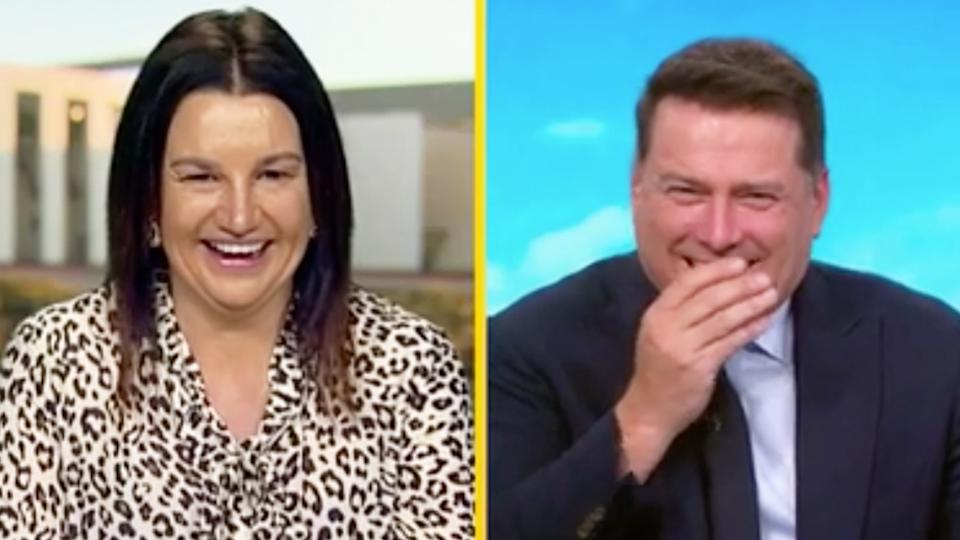 Today host Karl Stefanovic was left blushing after senator Jacqui Lambie's X-rated quip. Photo: Channel 9.