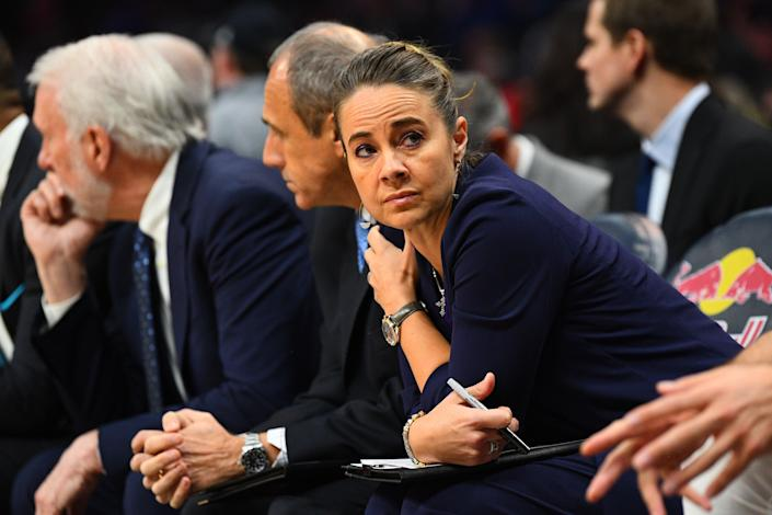 San Antonio Spurs assistant coach Becky Hammon looks on during a NBA game between the San Antonio Spurs and the Los Angeles Clippers on December 29, 2018 at STAPLES Center in Los Angeles, CA. (Photo by Brian Rothmuller/Icon Sportswire via Getty Images)