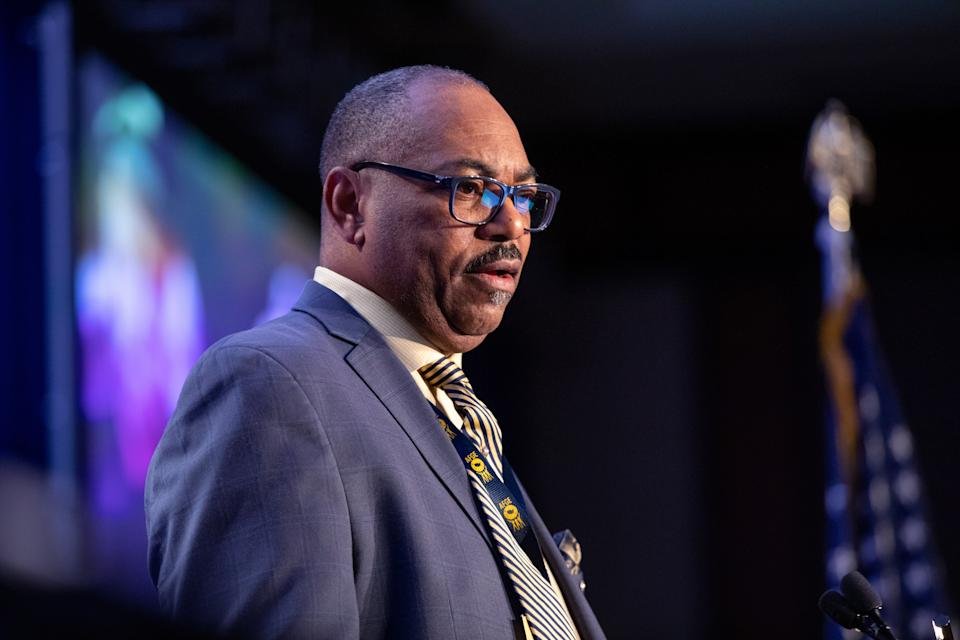 Everett Kelley, national secretary-treasurer of the AFGE, speaks during the American Federation of Government Employees (AFGE) Legislative and Grassroots Mobilization Conference in Washington, D.C., U.S., on Monday, Feb. 10, 2020. (Amanda Andrade-Rhoades/Bloomberg via Getty Images)