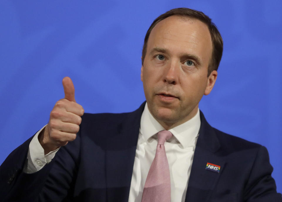 LONDON, ENGLAND - APRIL 28: Britain's Health Secretary, Matt Hancock gives a thumbs up gesture during a virtual press conference inside the new Downing Street Briefing Room in London on April 28, 2021 in London, England. (Photo by Kirsty Wigglesworth - WPA pool/Getty Images)