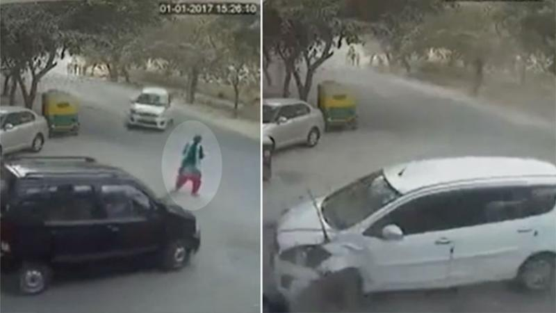 Crash aftermath: Ms Anand was dragged and slammed into a black car during the crash. Photos: LiveLeak