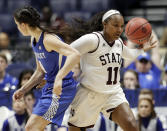 Mississippi State guard Roshunda Johnson (11) takes the ball away from Kentucky guard Maci Morris (4) in the second half of an NCAA college basketball game at the women's Southeastern Conference tournament Friday, March 2, 2018, in Nashville, Tenn. Mississippi State won 81-58. (AP Photo/Mark Humphrey)