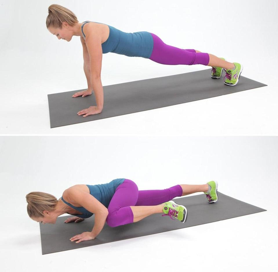 <ul> <li>Start in a traditional plank position, with your hands under your shoulders, and your body in one straight line.</li> <li>Bend your elbows out to the side to lower your torso toward the floor, and bring your left knee and touch it to your left elbow.</li> <li>As you straighten your arms, return to plank position bringing your left foot next to your right, then repeat this move on the other side. This counts as one rep. </li> </ul>