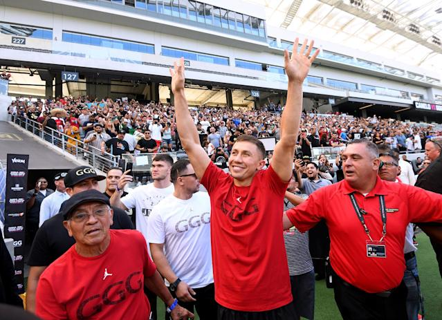 Gennady Golovkin waves to fans as he enters Banc of California Stadium during a media workout on Aug. 26, 2018, in Los Angeles, California. (Getty Images)