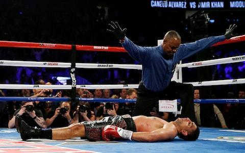<span>Saul Canelo Alvarez knocked out Amir Khan at the T-Mobile Arena last year</span> <span>Credit: Reuters </span>