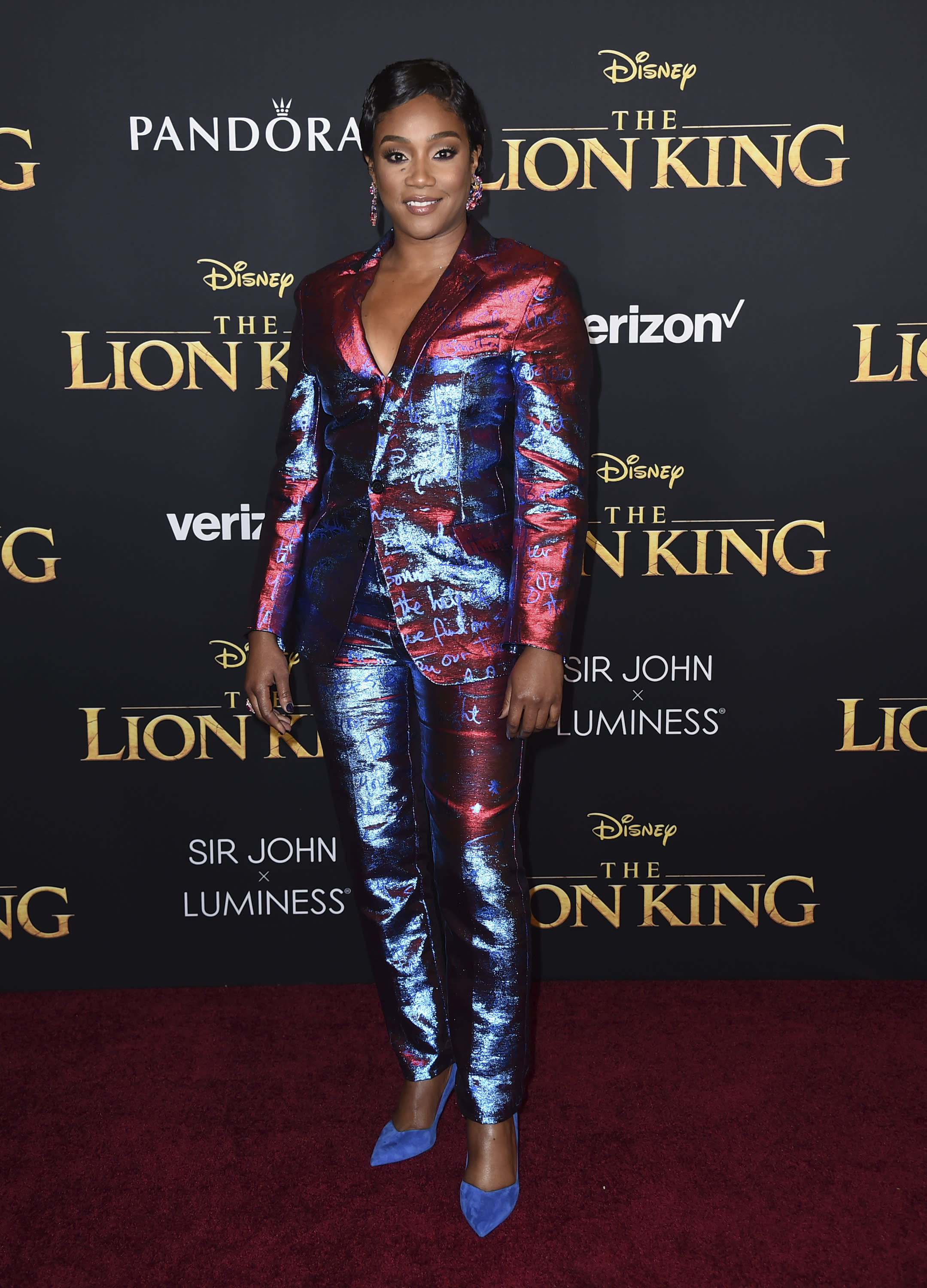 "Tiffany Haddish arrives at the world premiere of ""The Lion King"" on Tuesday, July 9, 2019, at the Dolby Theatre in Los Angeles. (Photo by Jordan Strauss/Invision/AP)"