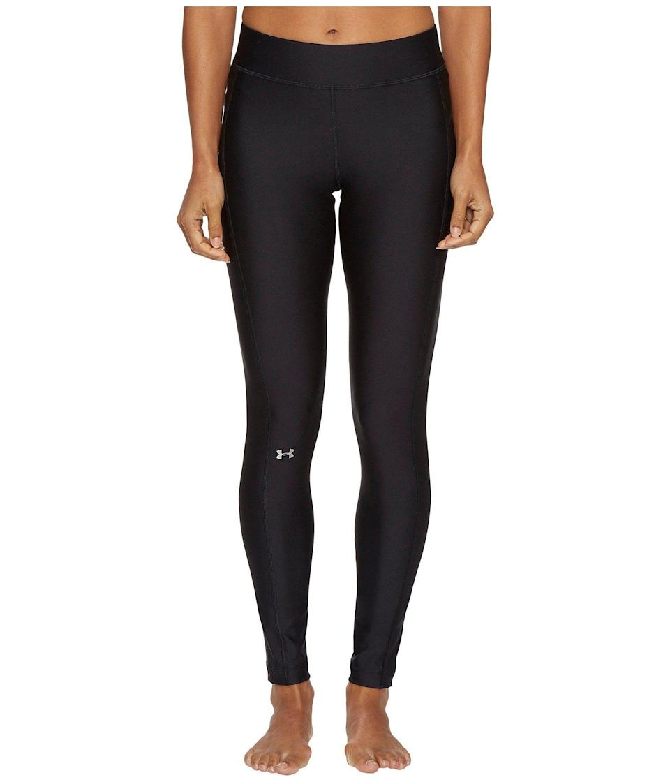 """<p><strong>Under Armour</strong></p><p>amazon.com</p><p><strong>$26.97</strong></p><p><a href=""""https://www.amazon.com/Under-Armour-Womens-Heatgear-Leggings/dp/B01CDPVB52?tag=syn-yahoo-20&ascsubtag=%5Bartid%7C10055.g.4042%5Bsrc%7Cyahoo-us"""" rel=""""nofollow noopener"""" target=""""_blank"""" data-ylk=""""slk:Shop Now"""" class=""""link rapid-noclick-resp"""">Shop Now</a></p><p>For exercise that involves a lot of sweat and movement, these leggings are made of a <strong>super smooth fabric that wicks sweat and reduces friction.</strong> They're also more compressive, which can help wtih muscle fatigue. Under Armour leggings are always favorites in our tests, especially for their comfort, breathability, and durability. If you're going to be running in cold weather, we recommend the <a href=""""https://www.amazon.com/dp/B00R6RW6WA"""" rel=""""nofollow noopener"""" target=""""_blank"""" data-ylk=""""slk:ColdGear Leggings"""" class=""""link rapid-noclick-resp"""">ColdGear Leggings</a> because they're fleece-lined for warmth yet still breathable for your run.</p>"""