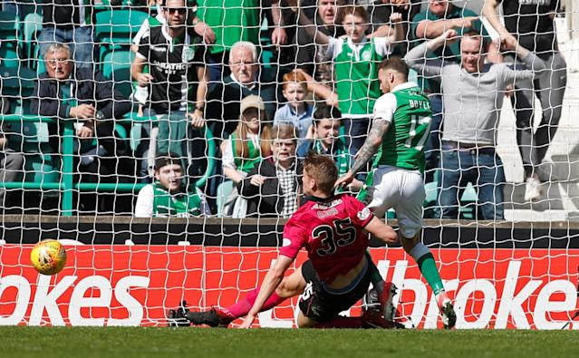 Soccer Football - Scottish Premiership - Hibernian v Celtic - Easter Road, Edinburgh, Britain - April 21, 2018 Celtic's Kristoffer Ajer clears off the line as Hibernian's Martin Boyle looks to score REUTERS/Russell Cheyne