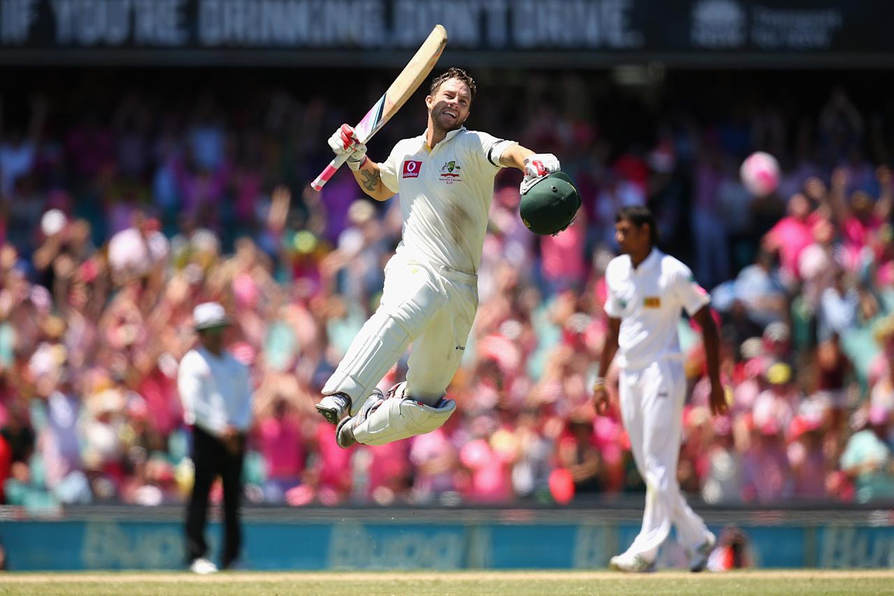 SYDNEY, AUSTRALIA - JANUARY 05:  Matthew Wade of Australia celebrates scoring a century during day three of the Third Test match between Australia and Sri Lanka at Sydney Cricket Ground on January 5, 2013 in Sydney, Australia.  (Photo by Cameron Spencer/Getty Images)