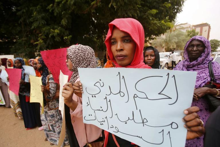 Sudanese activists from Darfur attend a protest in the capital Khartoum on July 8, 2019