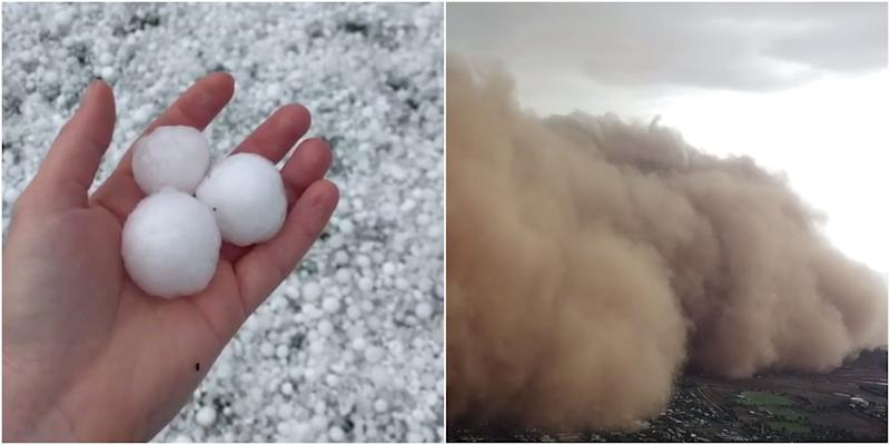 Hail stones and dust wall in Australia