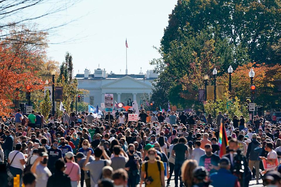 <p>On Saturday, large crowds formed to celebrate on Black Lives Matter plaza across from the White House after Biden was projected to defeat President Trump.</p> <p>While many such supporters wore masks, the sheer volume of their celebrations, in Washington, D.C., and elsewhere, also drew criticism for violating the guidance on social distancing during the COVID-19 pandemic.</p>