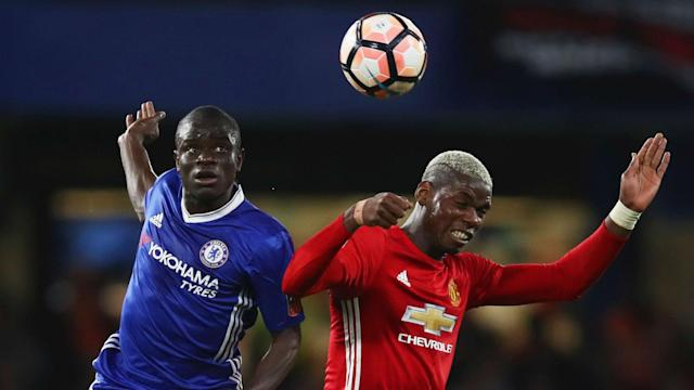"Manchester United midfielder Paul Pogba lauded Chelsea star N'Golo Kante by saying: ""He's everywhere! He's a big player."""