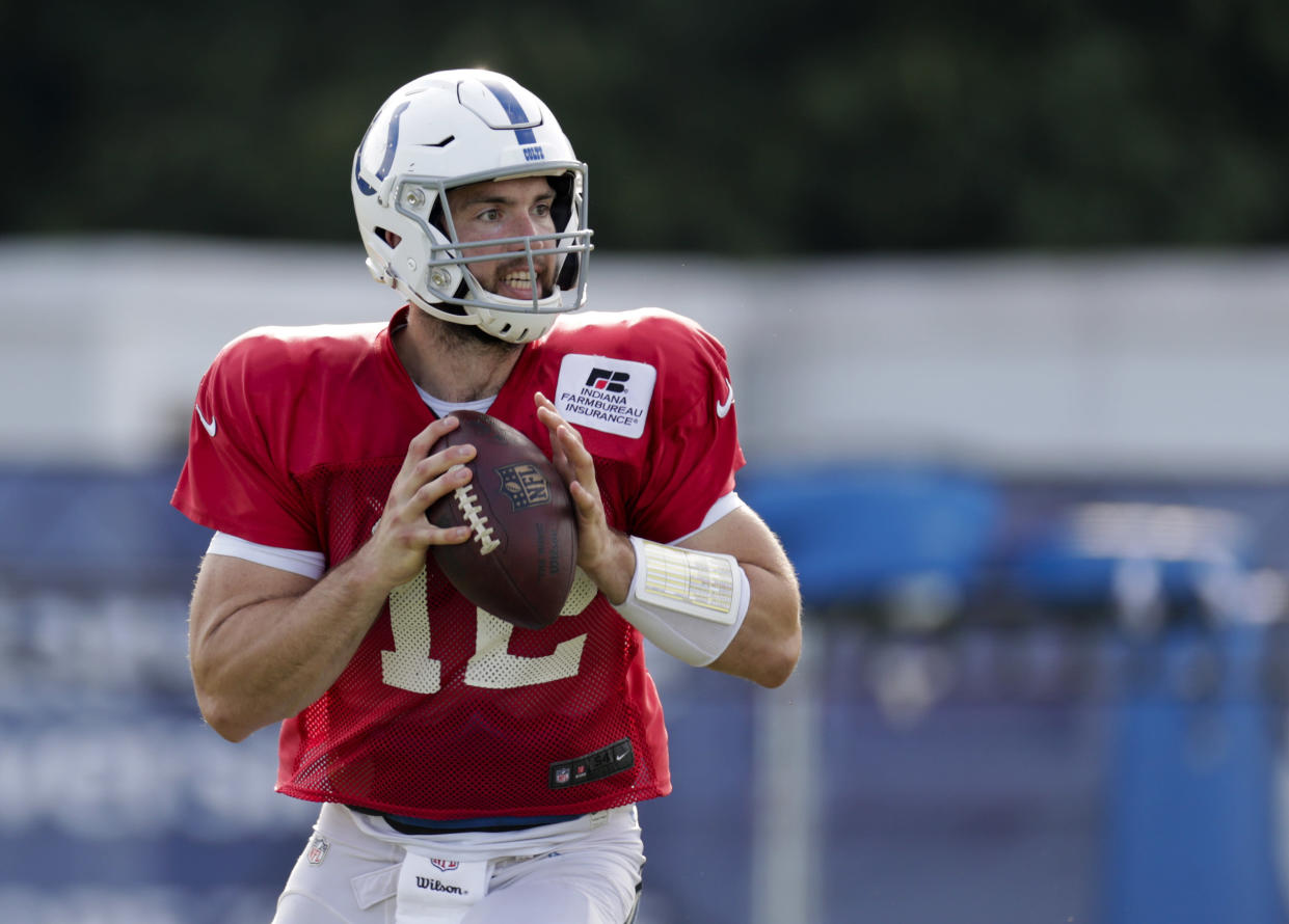 Indianapolis Colts quarterback Andrew Luck struggled a bit in his second preseason game against the Ravens. (AP)