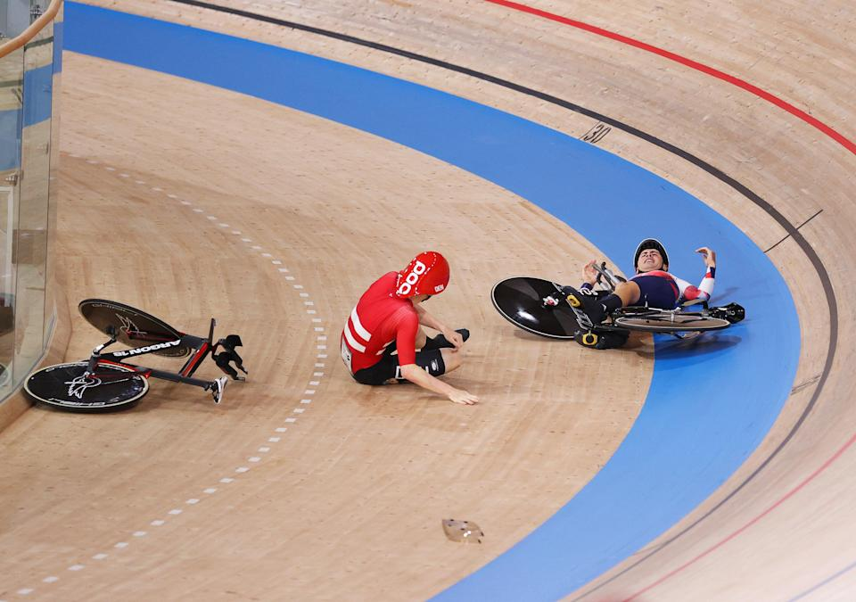 Frederik Madsen shouts at Charlie Tanfield after crashing into him (Getty Images)