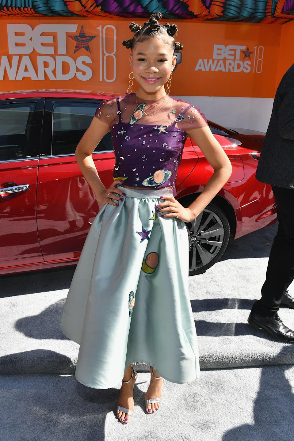 "<p>At the mere age of 14, <em>A Wrinkle In Time</em> star, Storm Reid, is bringing all kinds of style tonight in this Reem Acra two-piece set.</p><span class=""copyright"">Photo: Paras Griffin/Getty Images.</span>"