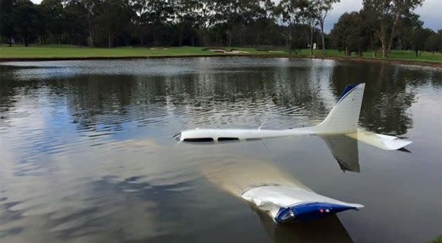 The plane went down at the 10th hole, the golf club said. Photo: Facebook