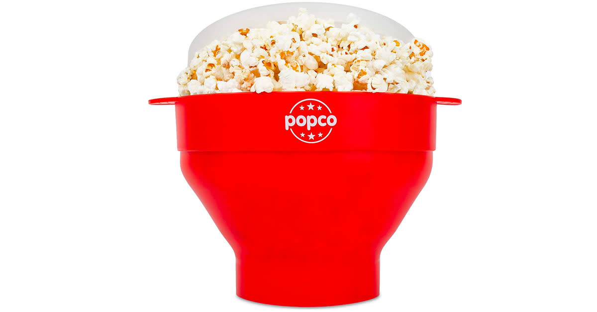 This expandable silicon bowl will yield macro pleasure from your microwaved kernels.  (Photo: Amazon)