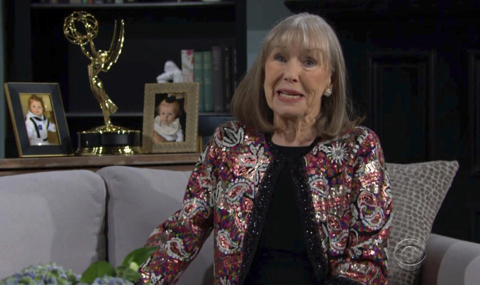 """In this video image provided by NATAS and the Daytime Emmys, Marla Adams accepts the award for outstanding performance by a supporting actress in a drama series for """"The Young and the Restless"""" during the 48th Daytime Emmy Awards on Friday, June 25, 2021. (NATAS/Daytime Emmys via AP)"""