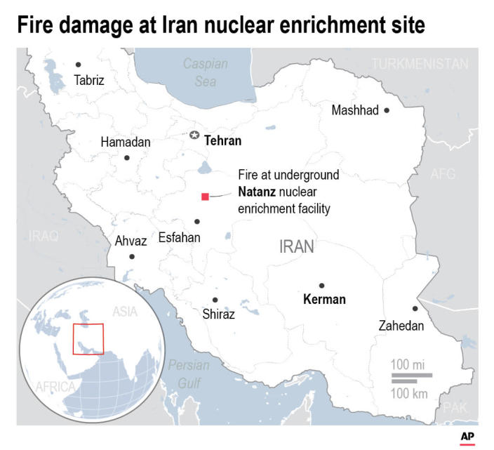 A fire has burned a building above Iran's underground Natanz nuclear enrichment facility, though officials say it did not affect its centrifuge operation or cause any release of radiation.;