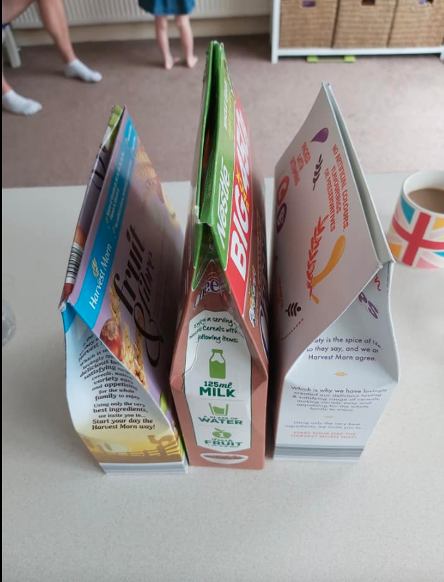 Closed cereal boxes