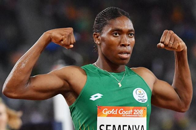 South Africa's Caster Semenya won her first Commonwealth medal with victory in the women's 1,500m. (AFP Photo/SAEED KHAN)