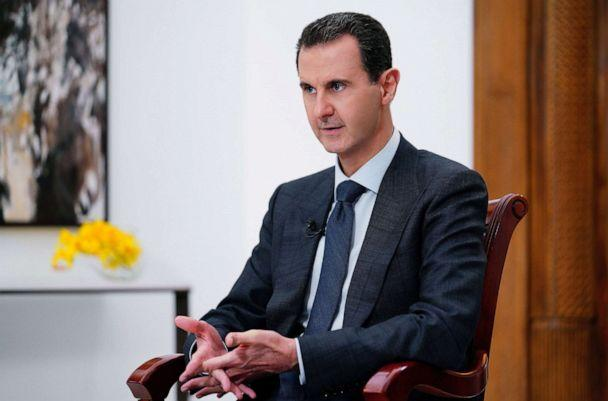 PHOTO: President Bashar al-Assad speaks during an interview with Italian national public television, in a photo released by the official Syrian Arab News Agency (SANA) on Dec. 9, 2019. (SANA via AFP/Getty Images, FILE)