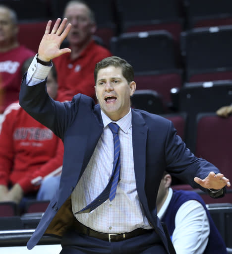 Drexel head coach Zach Spiker shouts to his players during the first half of a NCAA college basketball game against Rutgers Sunday, Nov. 13, 2016, in Piscataway, N.J. (AP Photo/Mel Evans)
