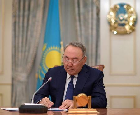 Kazakhstan's President Nazarbayev is seen during his address in Astana