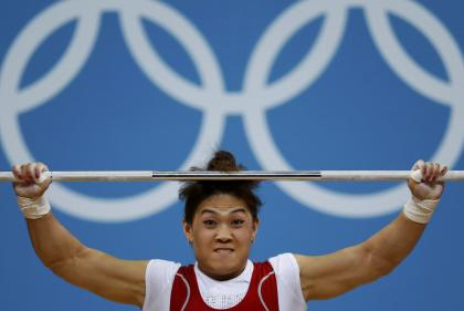 Kazakhstan's Maiya Maneza competes on the women's 63Kg weightlifting competition at the ExCel venue at the London 2012 Olympic Games July 31, 2012. (REUTERS/Paul Hanna)