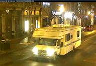 A recreational vehicle that exploded and injured people is seen in Nashville