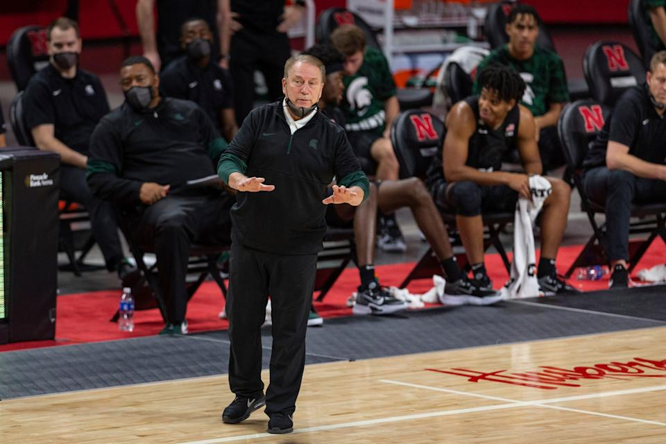 Michigan State head coach Tom Izzo signals to his players in the second half against Nebraska during an NCAA college basketball game on Saturday, Jan. 2, 2021, in Lincoln, Neb.