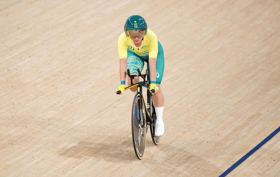 Emily Petricola (pictured) after winning Gold in the Women's C4 3000m Individual Pursuit at the Tokyo 2020 Paralympic Games in Japan.
