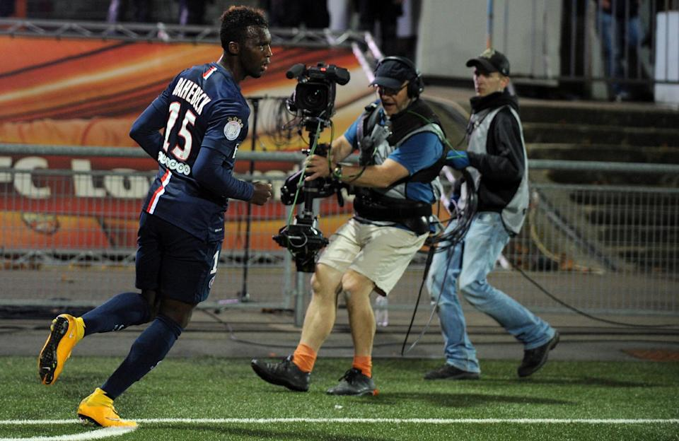 Paris Saint-Germain's Jean-Christophe Bahebeck celebrates after scoring during the match against Lorient on November 1, 2014 at the Moustoir stadium in Lorient, France (AFP Photo/Fred Tanneau)