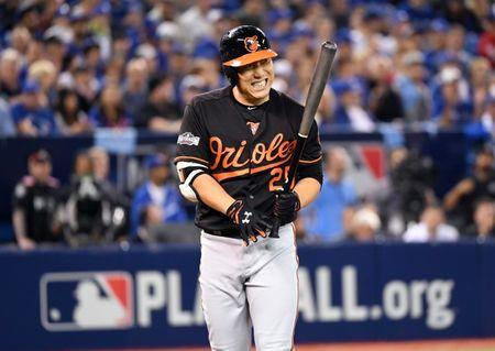 Oct 4, 2016; Toronto, Ontario, CAN; Baltimore Orioles left fielder Hyun Soo Kim (25) reacts after a strike during the fourth inning against the Toronto Blue Jays in the American League wild card playoff baseball game at Rogers Centre. Mandatory Credit: Nick Turchiaro-USA TODAY Sports