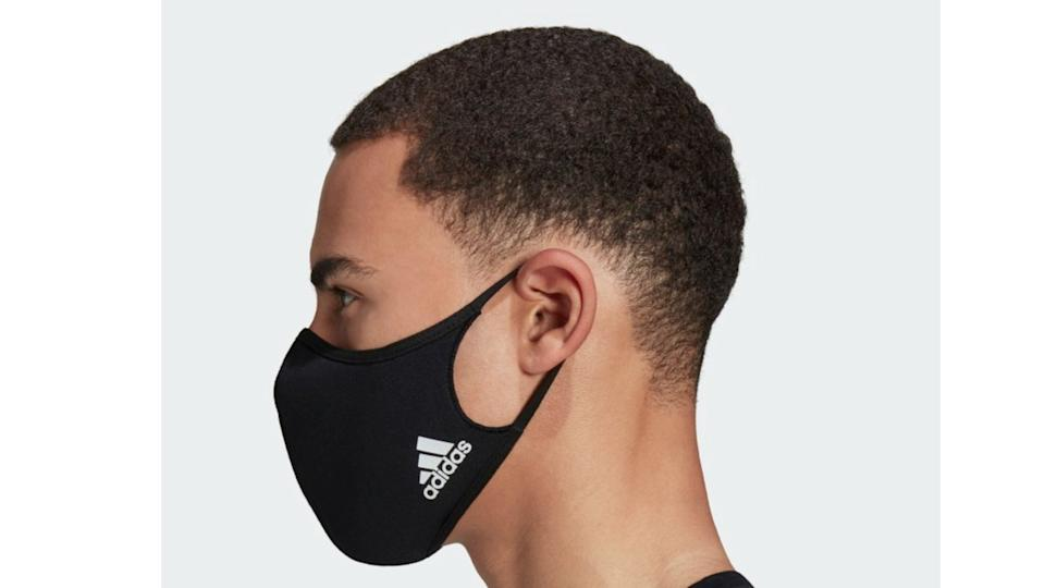 The Adidas face covers come in a three-pack in either blue or black for $28.
