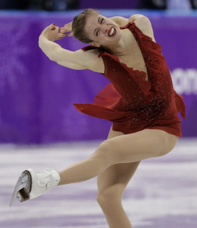 <p>Carolina Kostner of Italy performs during the women's short program figure skating in the Gangneung Ice Arena at the 2018 Winter Olympics in Gangneung, South Korea, Wednesday, Feb. 21, 2018. (AP Photo/David J. Phillip) </p>