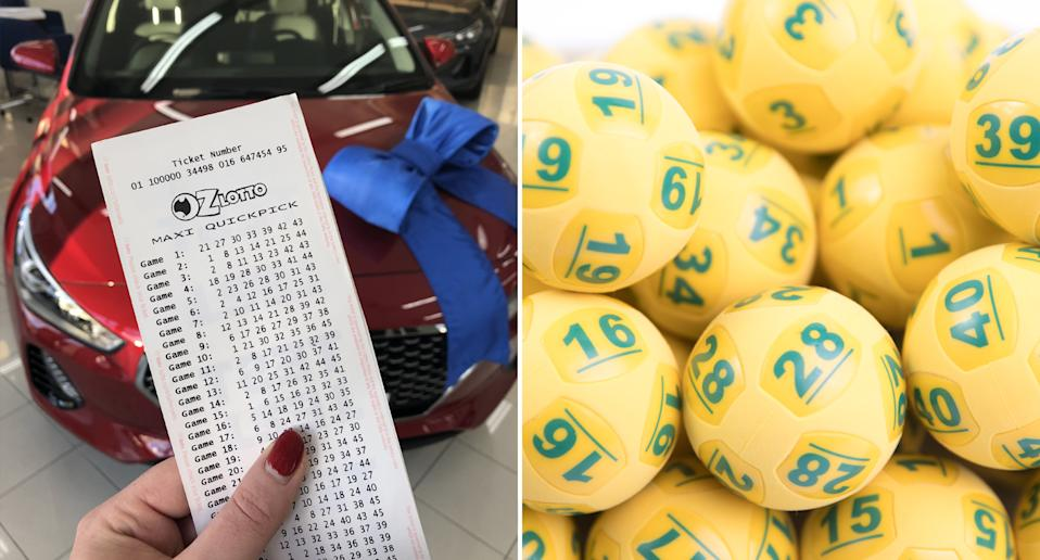 A woman holds an Oz Lotto ticket in front of a car (left) while yellow Oz Lotto balls sit together (right.
