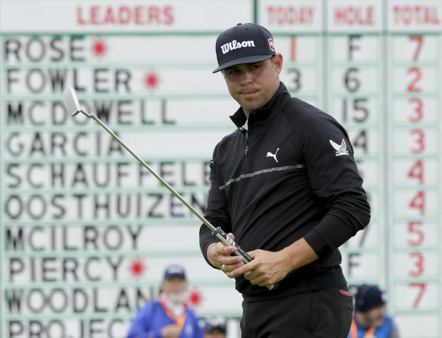 Gary Woodland watches his putt on the sixth hole during the second round of the U.S. Open Championship golf tournament Friday, June 14, 2019, in Pebble Beach, Calif. (AP Photo/Matt York)