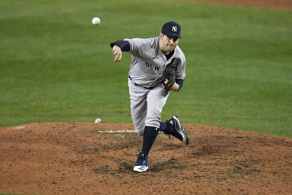New York Yankees pitcher Adam Ottavino throws to a Toronto Blue Jays batter during the ninth inning of a baseball game in Buffalo, N.Y., Tuesday, Sept. 22, 2020. (AP Photo/Adrian Kraus)