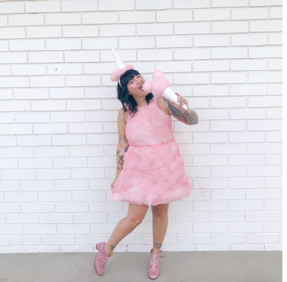 """<p>Use fabric dye to turn polyester fiber fill pink, let dry, then glue to a pink dress. Complete the look by gluing a bit of the stuffing to the base of a party hat. </p><p><a class=""""link rapid-noclick-resp"""" href=""""https://www.instagram.com/p/B3dTgJVlpxs/"""" rel=""""nofollow noopener"""" target=""""_blank"""" data-ylk=""""slk:SEE MORE"""">SEE MORE</a></p><p><a class=""""link rapid-noclick-resp"""" href=""""https://www.amazon.com/Fairfield-Poly-Premium-Fiber-32-Ounce/dp/B004ALQ0M2?tag=syn-yahoo-20&ascsubtag=%5Bartid%7C10072.g.33547559%5Bsrc%7Cyahoo-us"""" rel=""""nofollow noopener"""" target=""""_blank"""" data-ylk=""""slk:SHOP FIBER FILL"""">SHOP FIBER FILL</a></p>"""